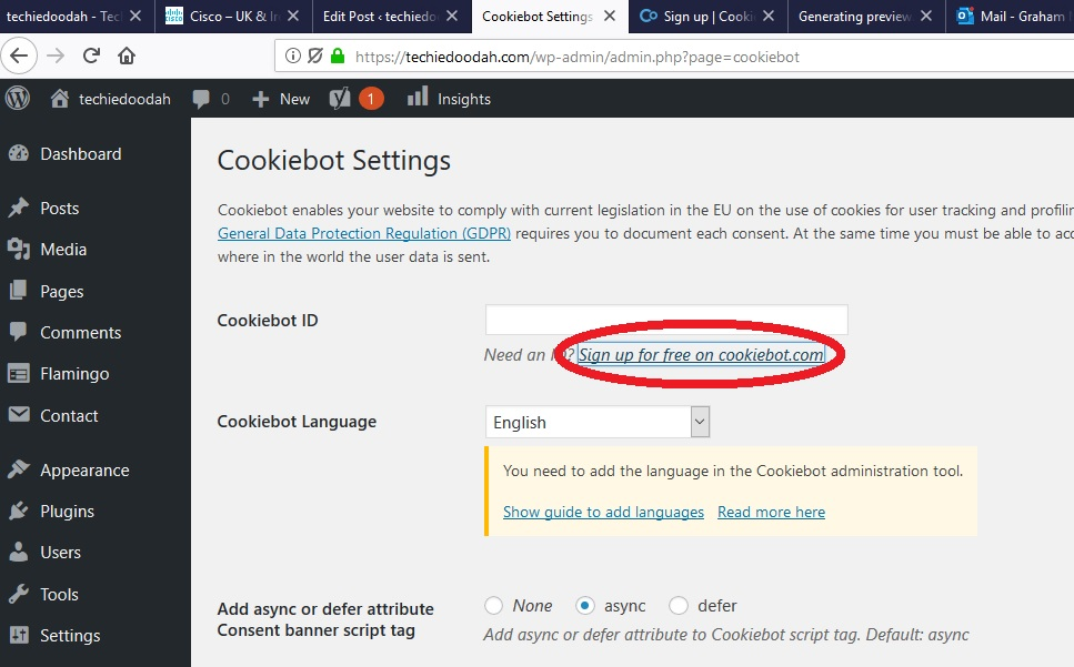 Link to Cookiebot signup in WordPress