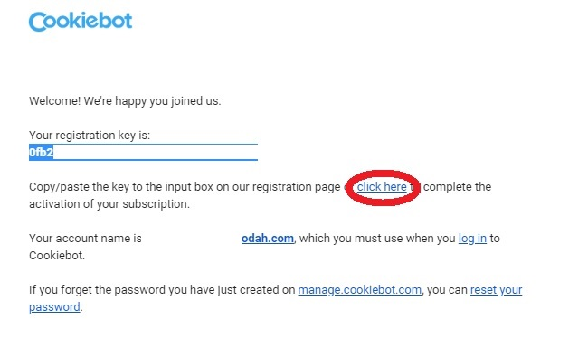 Completing the Cookiebot registration process