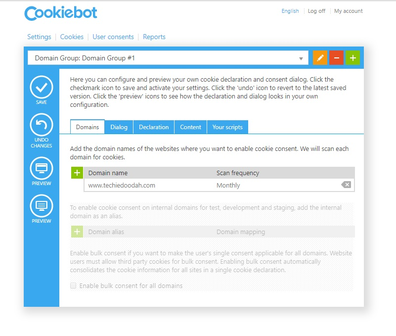 Adding your domain in the Cookiebot manager