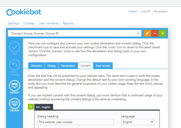 Setting the language in the Cookiebot manager