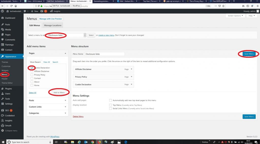 Adding a link to the new Cookie Declaration page in the WordPress Dashboard.