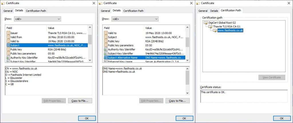 Certificate details showing Subject, Subject Alternative Names and the certificate path.