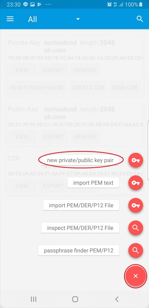 Ading a new key pair using the d/Cert application for Android