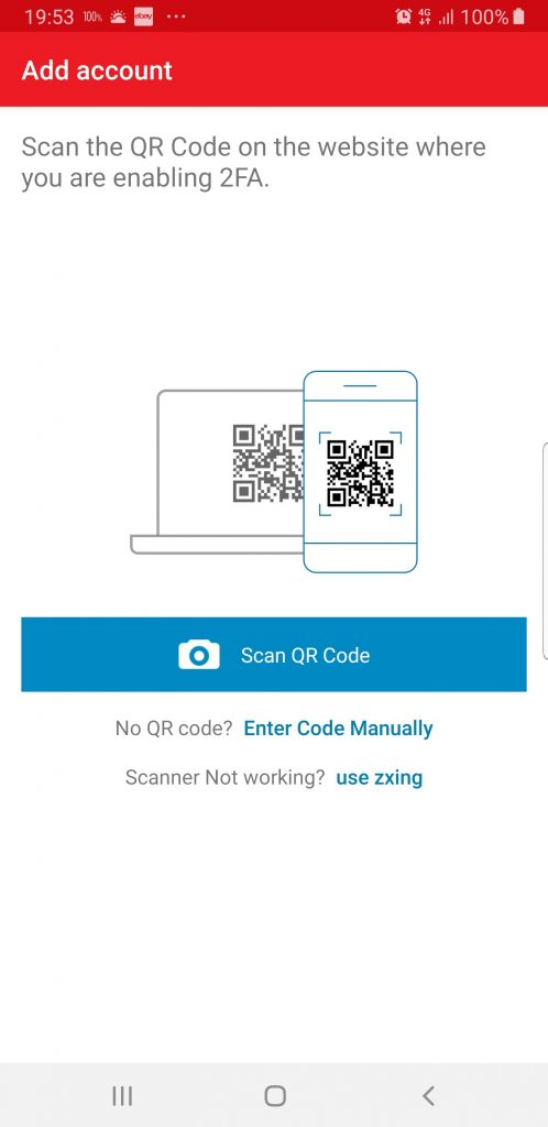 "Selecting the button to ""Scan QR Code"""