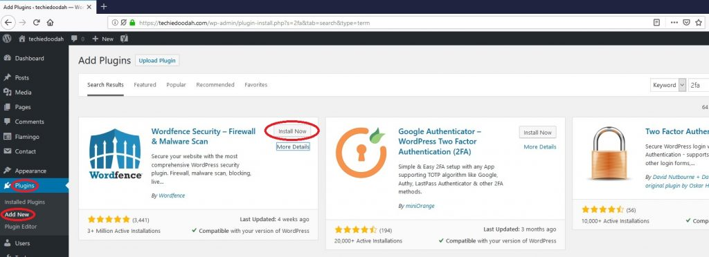 Securing WordPress with 2-factor authentication. Installing the Wordfence WordPress plugin