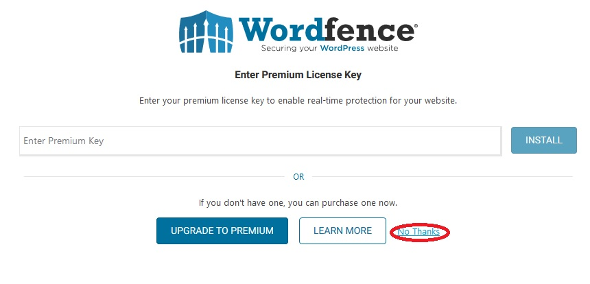 "Securing WordPress with 2-factor authentication. Skipping the ""Upgrade To Premium"" option during the Wordfence setup process."
