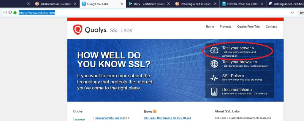 Testing the HTTPS site from the ssllabs website