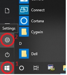Clicking the Windows Start button 1 and then clicking the settings icon 2.