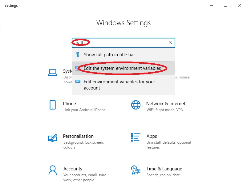 Selecting Edit the system environment variables in Windows 10