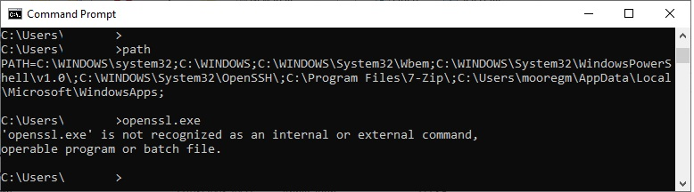 How to add a program to the Windows path variable. Showing the PATH variable in the command prompt
