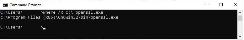 """Example output of the """"where"""" command in the Windows"""