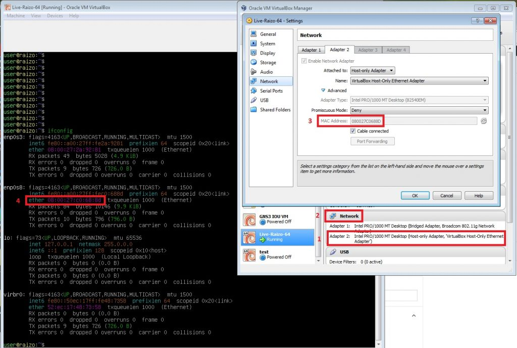 How to route to a GNS3 host in a Live Raizo VM. Finding the ethernet adapter of the Live Raizo machine.
