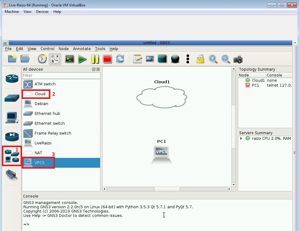 Creating a project in Live Raizo GNS3 to test routing to the host machine