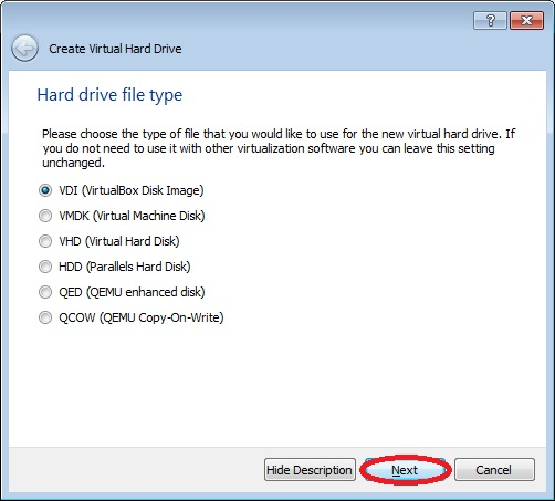 Image showing how to choose the Hard Drive file type for a VirtualBox VM.