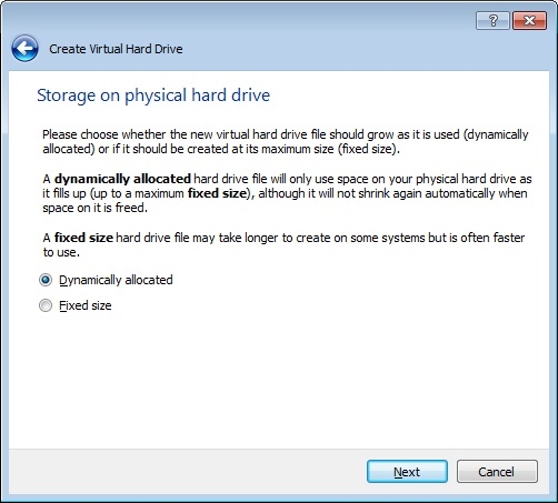 How to create a Live Raizo VM with persistence, Choosing to dynamically allocate the hard drive storage.