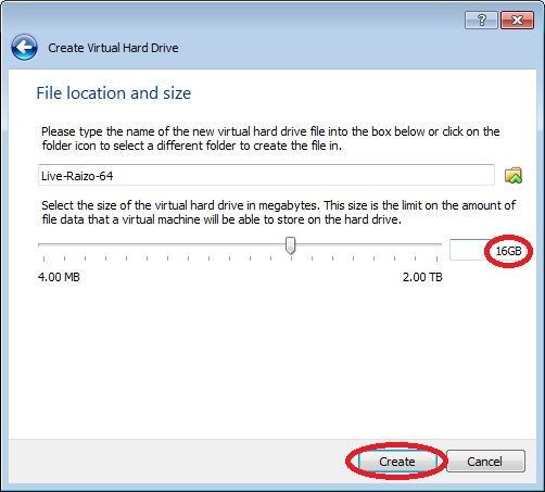 How to create a Live Raizo VM with persistence, Choosing a size for the hard drive