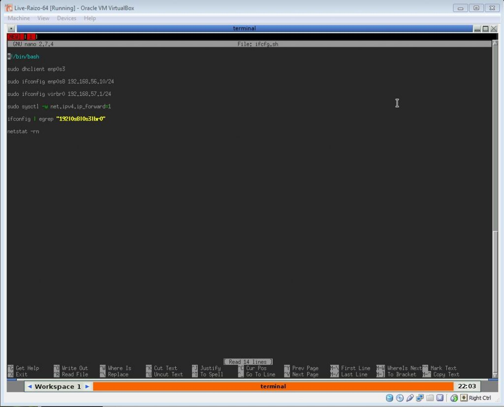 How to script interface configurations in Linux, using nano to create a bash shell script.