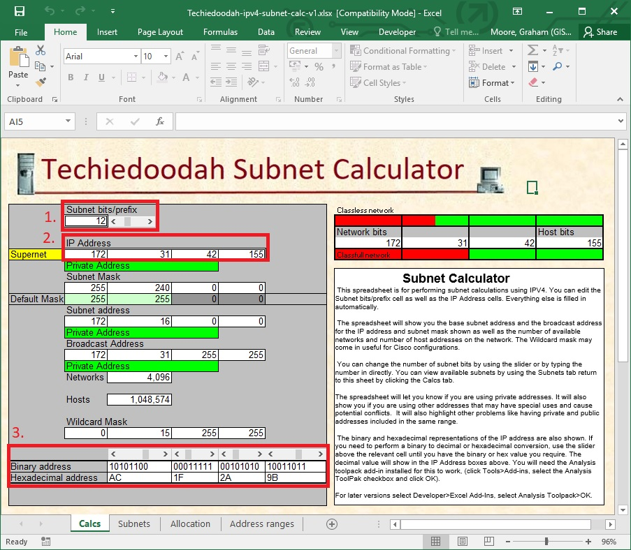 An image showing the Techiedoodah IPv4 subnet calculator excel .xlsx spreadsheet open on the Calcs sheet.