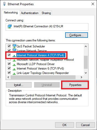 Selecting ethernet properties in the adapter settings dialogue box forWindows