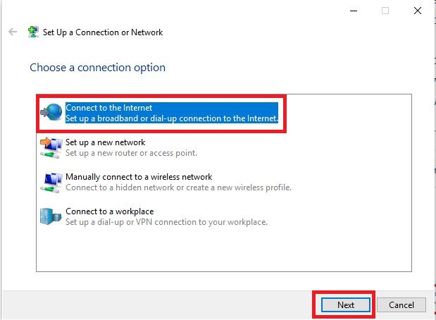 Choosing a connect option for a new network in Windows
