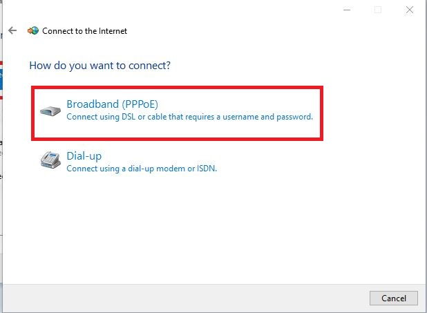 Choosing Broadband PPPoE for the Internet connection in Windows.