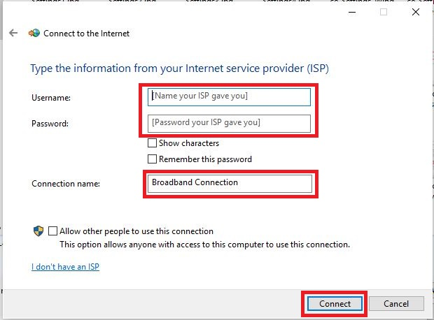 Configuring a Windows PPPoE connection with authentication details from the ISP