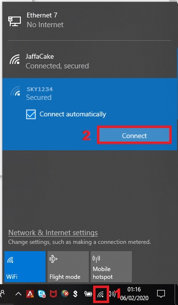 Connecting to a WiFi network with Windows 10