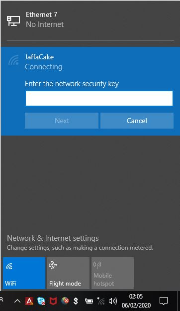 Entering the WiFi password when connecting for the first time with Windows 10