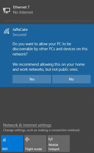 Choosing to be discoverable or not when connecting to a WiFi network in Windows 10