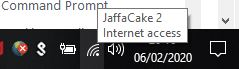 WiFi name with Internet access confirmation shown in a mouse over dialogue.