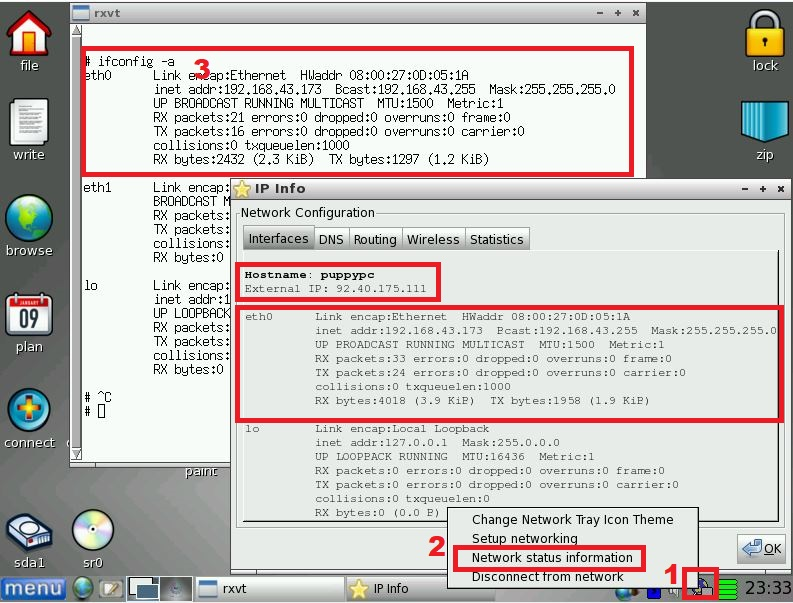 Checking Linux interface status for Internet connections.