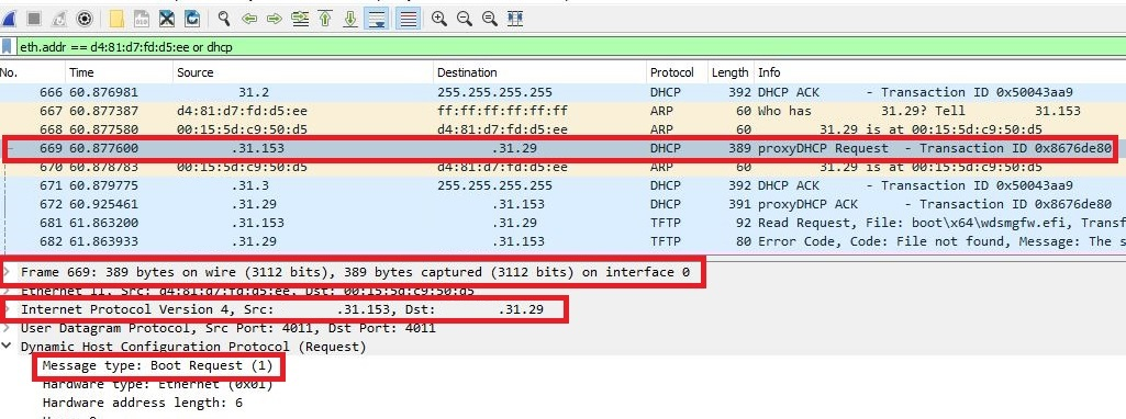 A directed proxyDHCP Boot request request shown in Wireshark