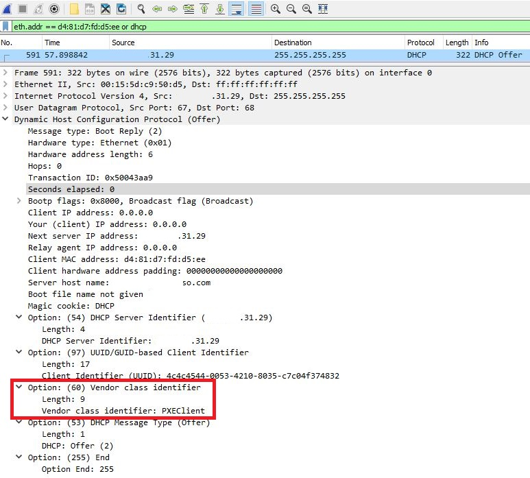 """Option 60 set to """"PXEClient"""" shown in a DHCP Offer packet using Wireshark"""