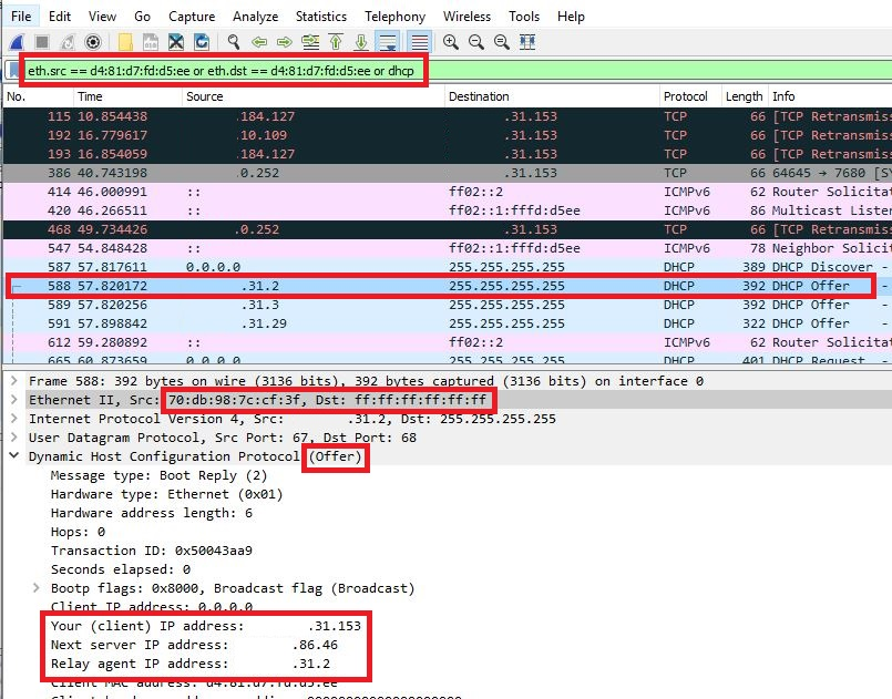 A DHCP offer packet received from a relay agent displayed in Wireshark