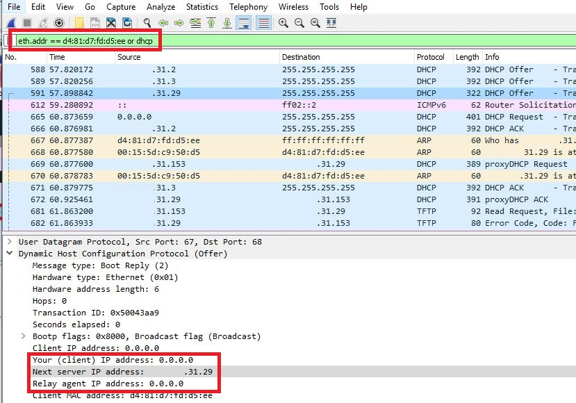 A DHCP offer from the rogue server shown in Wireshark