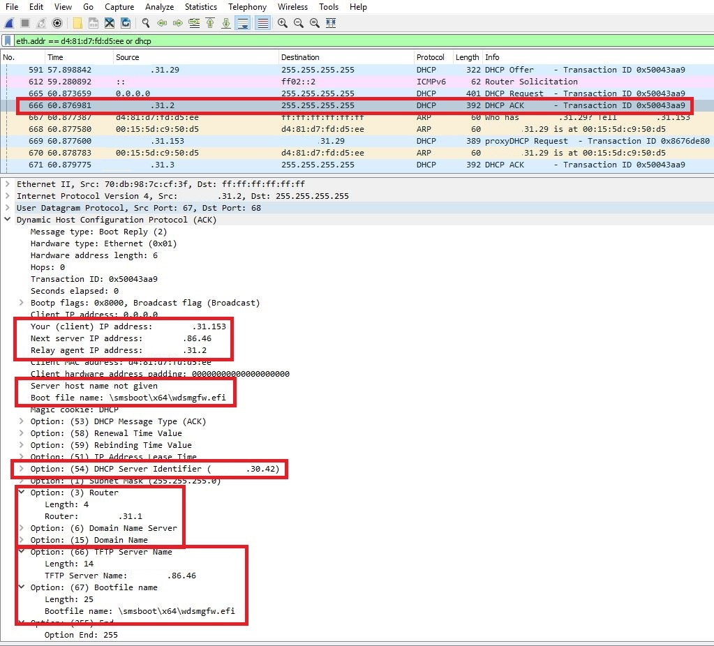 DHCP Ack from a relay agent shown in Wireshark