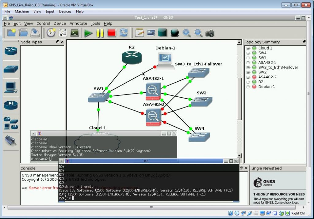 GNS environment with Cisco ASA and router running.
