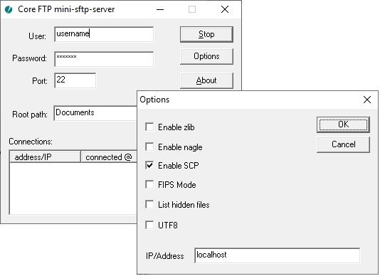 Image showing the Core FTP mini-sftp-server with the Enable SCP option checked.