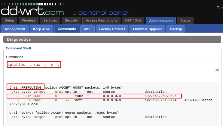 Checking the raw iptables in a DD-WRT router for allowed traffic