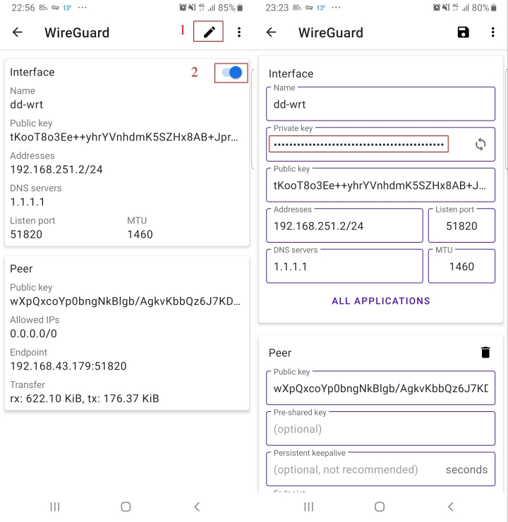 Starting and editing the Wireguard tunnel in the Android GUI, and accessing the private key.