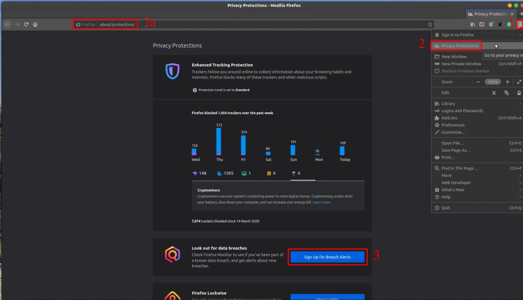 Image showing the steps to reach the Firefox Breach Monitor page at monitor.firefox.com