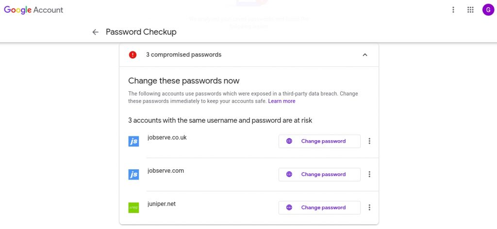 Checking your saved passwords using Google's Password Checkup feature.