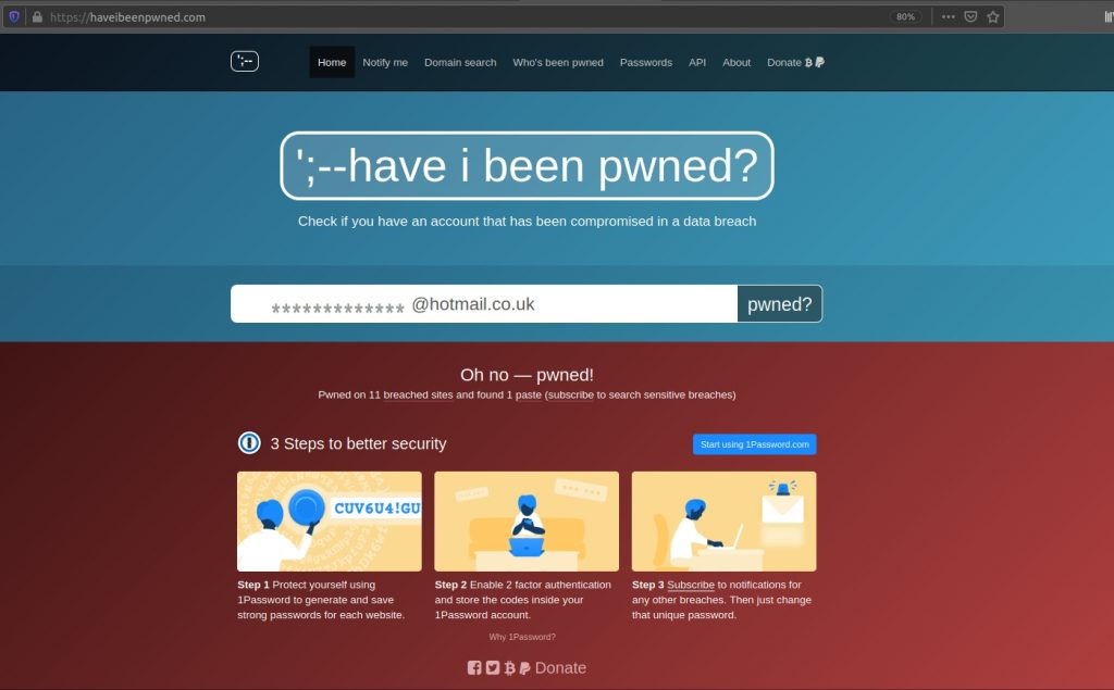 Image of the haveibeenpwned.com website.