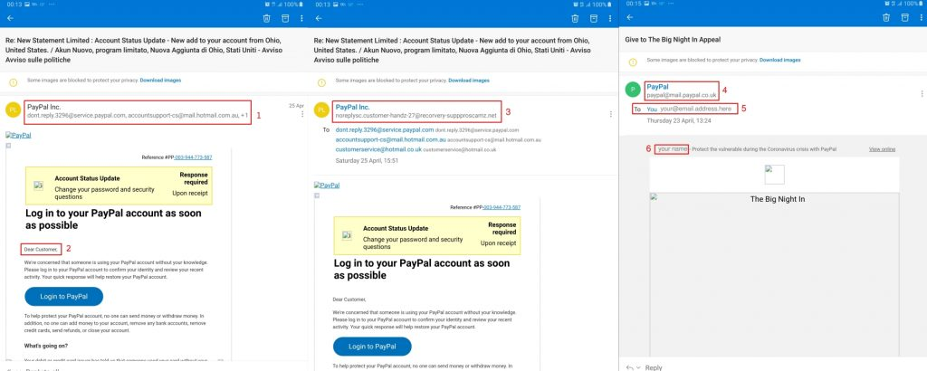 Fake and genuine emails from PayPal showing some tell-tale differences to help spot phishing attempts